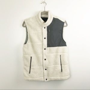 Banana republic cream and grey fuzzy vest
